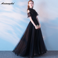 Black Halter A Line Pregnant Woman Customized New Arrival Fashionable Short Sleeves Mother Of The Bride