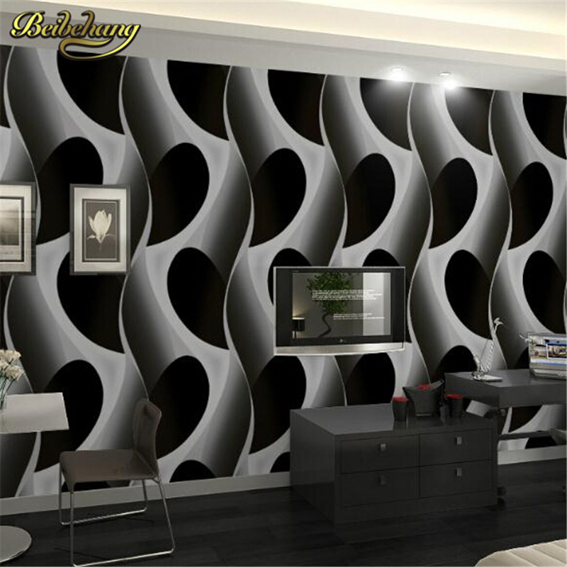 beibehang papel de parede. Abstract 3D geometric wallpaper pvc grey/black modern design background wall wallpaper for living