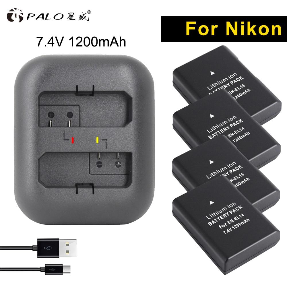 PALO numérique bateria 4 pièces EN-EL14 7.4 v batteries de caméra en el14 + PORT USB chargeur Pour Nikon DF d3400 d5300 d3100 d3200 d5600