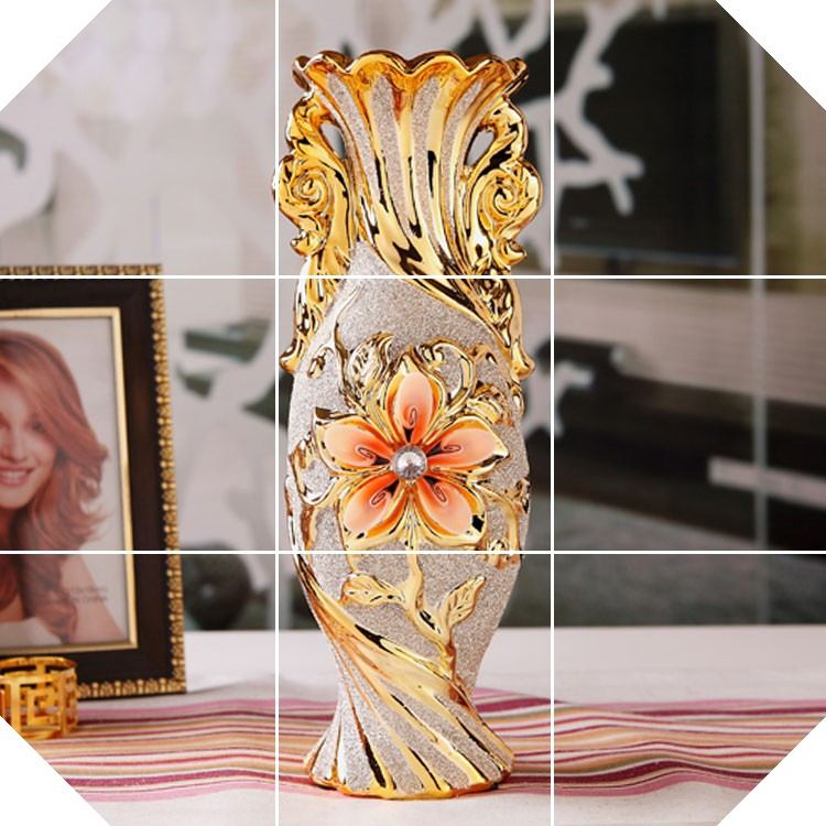 European Modern Fashion Ceramic Flower gold Decorative Vases floor Home decoration modern Wedding Decoration Vaso,Jingdezhen