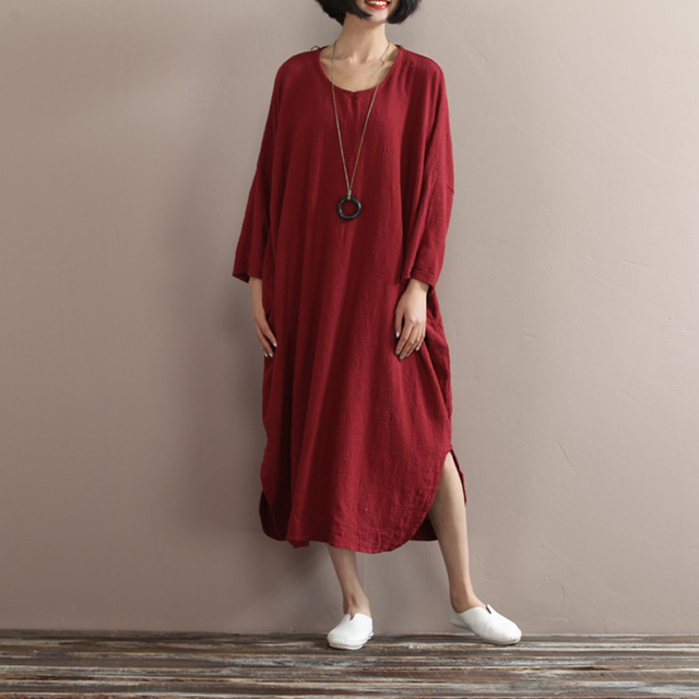 cbb730f4722 Johnature 2019 Autumn New Cotton Linen Dress Bat Sleeve Irregular Vintage  Robes Plus Size Women Clothes