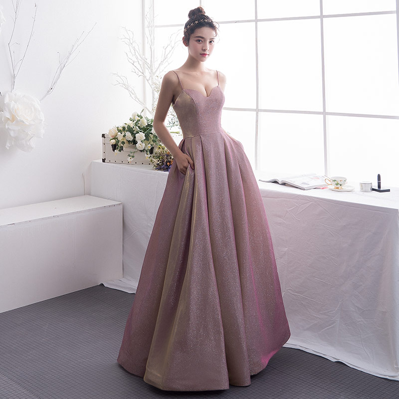 2019 Suosikki Women's Gradient   Evening     Dresses   Sequin V Neck Contrast Color Party Gown formal prom   dresses   gown