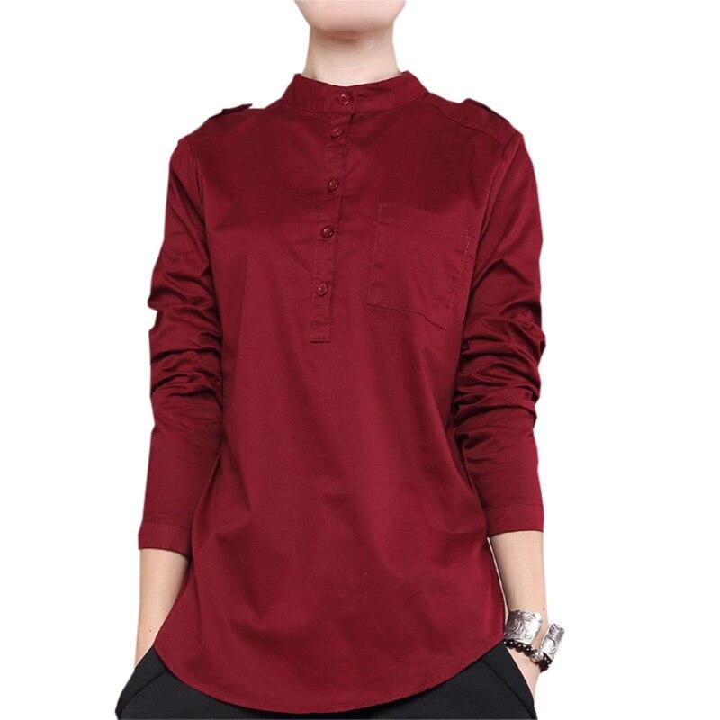 Vintage col montant femmes chemises épais chaud lâche femmes Blouses hauts 2018 printemps automne décontracté noir blanc chemises RE0346