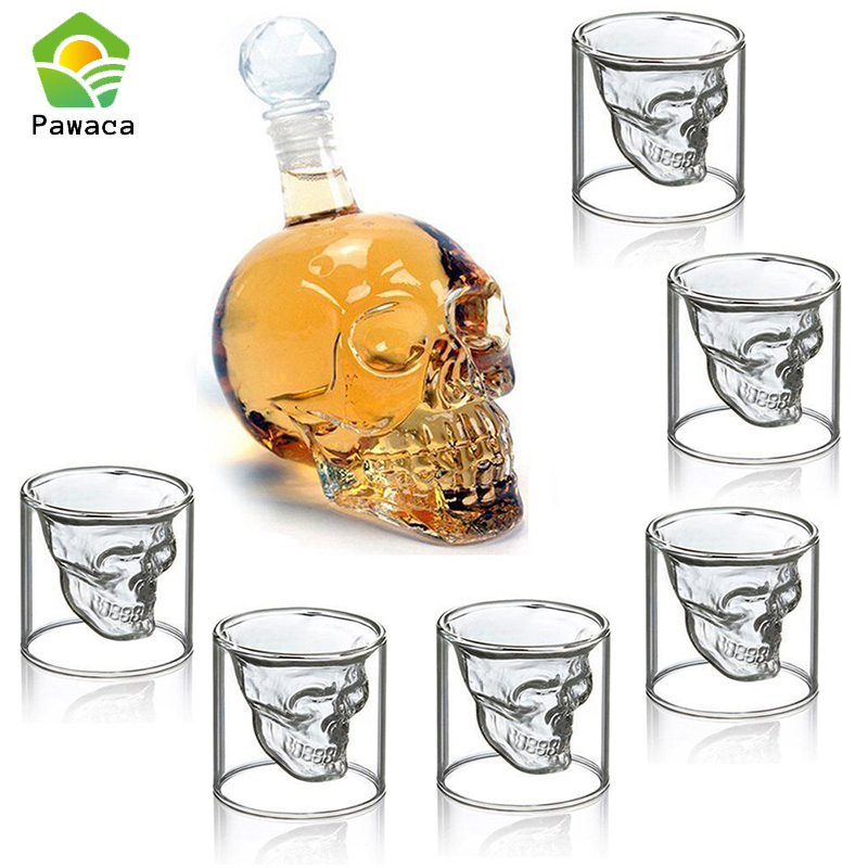 7pcs/set Transparent Crystal Skull Head Glass Cup for Whiskey Wine Vodka Bar Club Beer wine Glasses