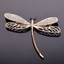 USTAR Crystals dragonfly brooches for women pins gold color rhinestone lapel pin