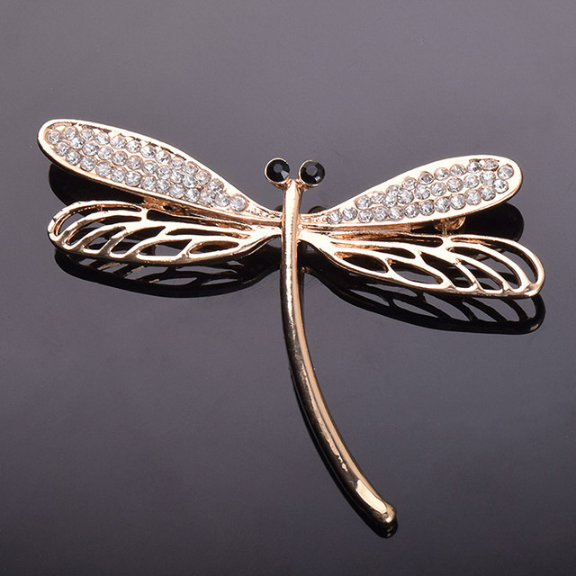 Crystals dragonfly brooches for women
