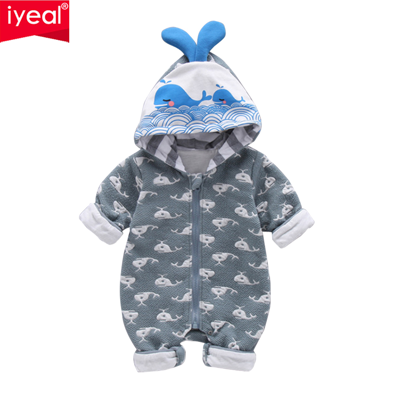 IYEAL Newborn Baby Boy Clothes Infant Romper Long Sleeve Hooded Cartoon Dolphin Baby Girl Rompers Jumpsuit Cotton Baby Clothing summer 2018 baby boy rompers cartoon animal romper jumpsuit kids clothes infant clothing macacao ropa newborn baby rompers