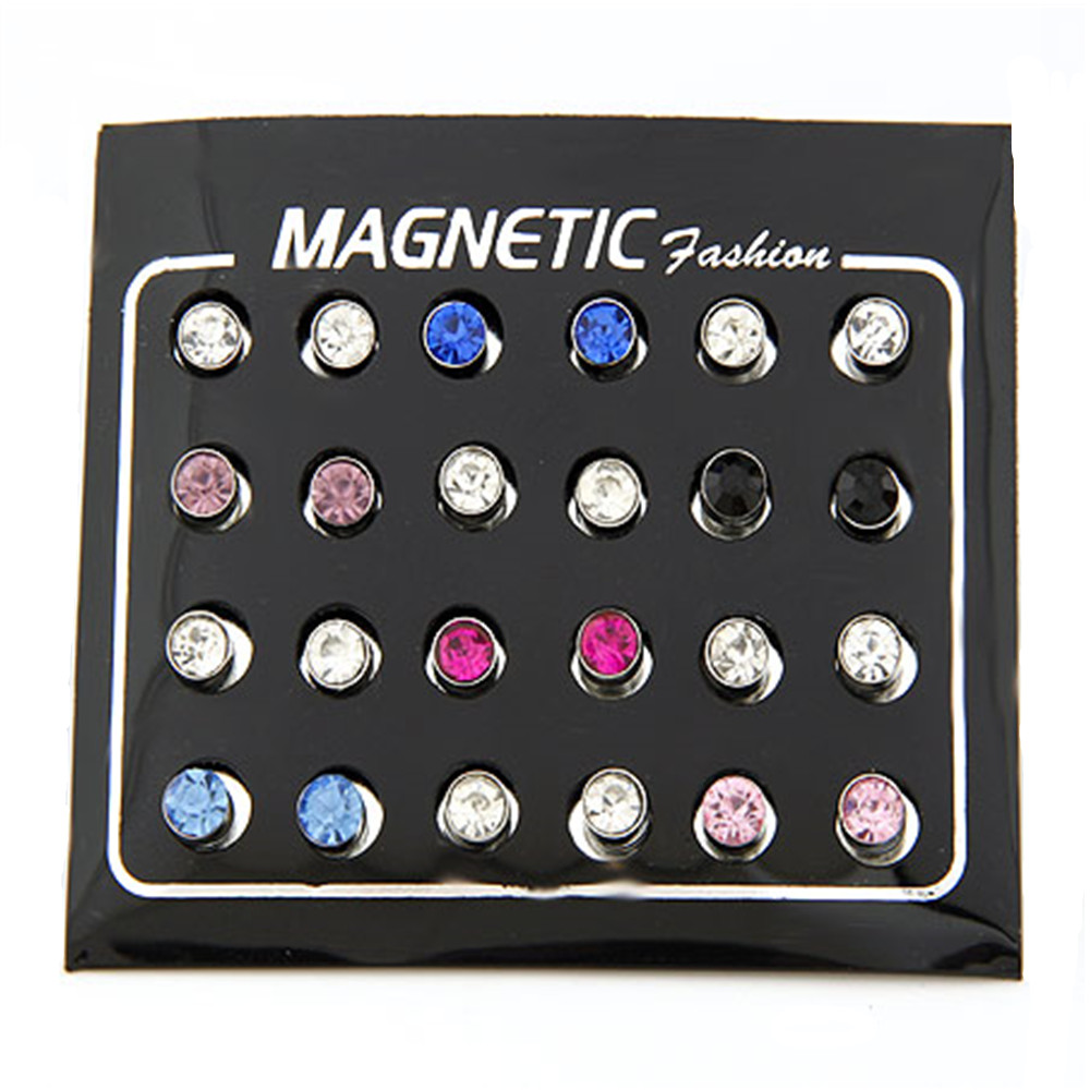 2018 Hot Sale Mult Colors magetic mens earring Crystal Magnet Stud Earrings for Men Wholesale Jewelry