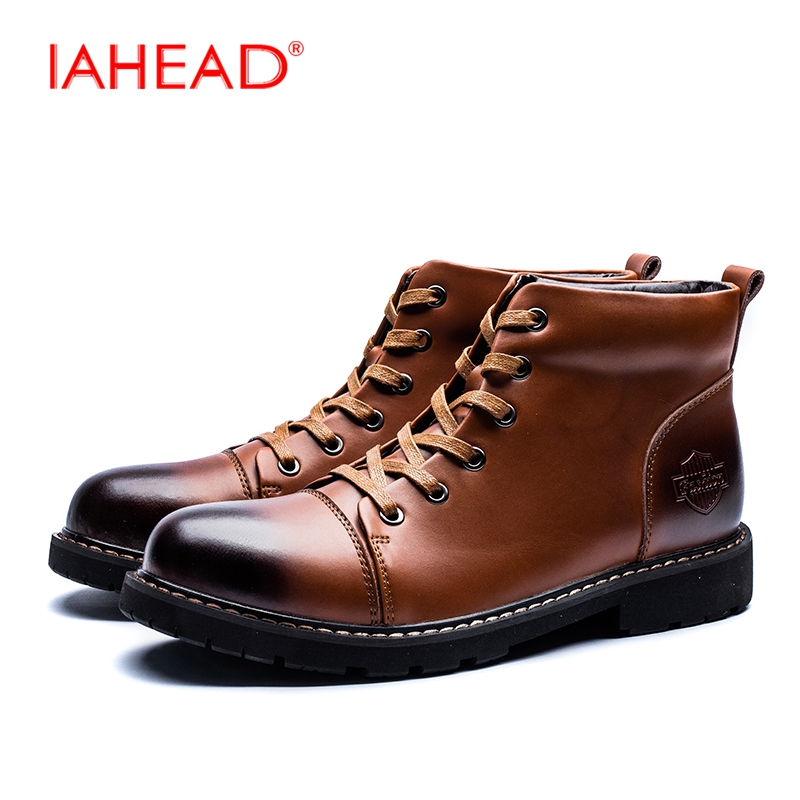 IAHEAD Men Boots Martin Boots Men Ankle Boots Mens Winter Footwear Lace-Up Split Leather Shoes Men botas masculino MH542 fashion men s formal martin boots mens leather ankle boots lace up male boots footwear botas hombre spring autumn winter shoe