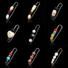 Rinhoo практичная универсальная брошь в стиле ретро, расшитая бисером, для свитера, пальто, 8 см, Золотая булавка в горошек,, 8 мм, большие бусины, 8 чакр, броши