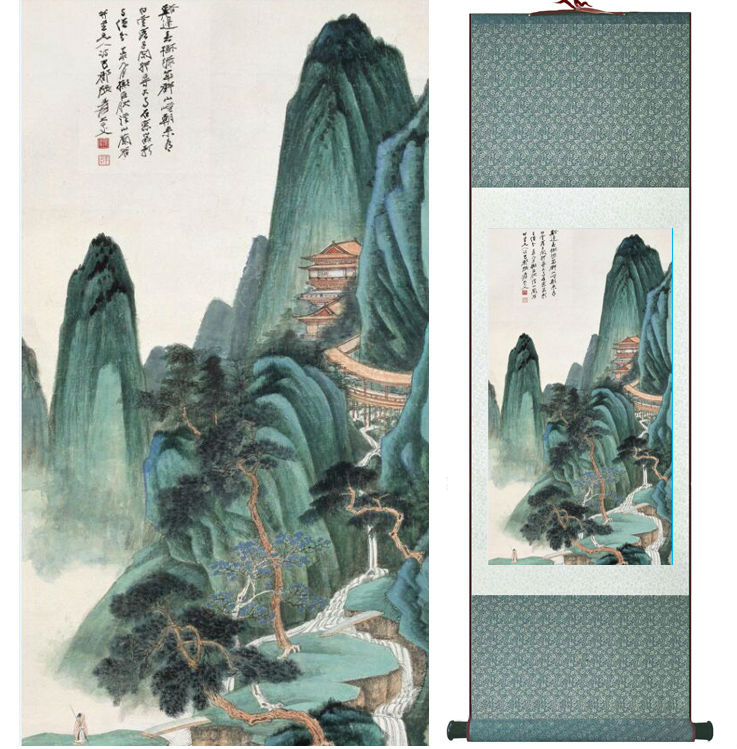 Zhangdaqian Mountain and River painting Chinese scroll painting landscape art painting home decoration painting0402011