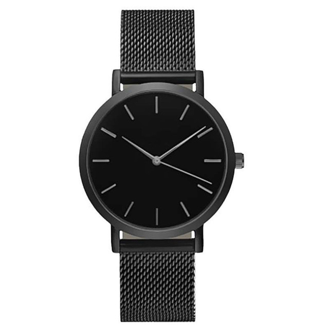 Cool Stuff Fashion Simple Stylish Top Brand Women Watches Stainless Steel Mesh Strap Quartz-watch Thin Dial Men Watch Clock Reloj Mujer