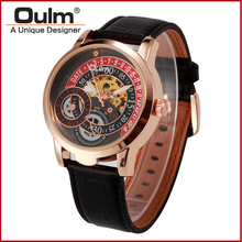 Oulm brand hotsale chinese cheap watches genuine leather belt Chinese mechanical hand wind watch