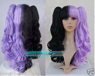 &Wholesale&>> Cosplay Lolita Split Type Purple/Black Curly Heat Resistant Wig