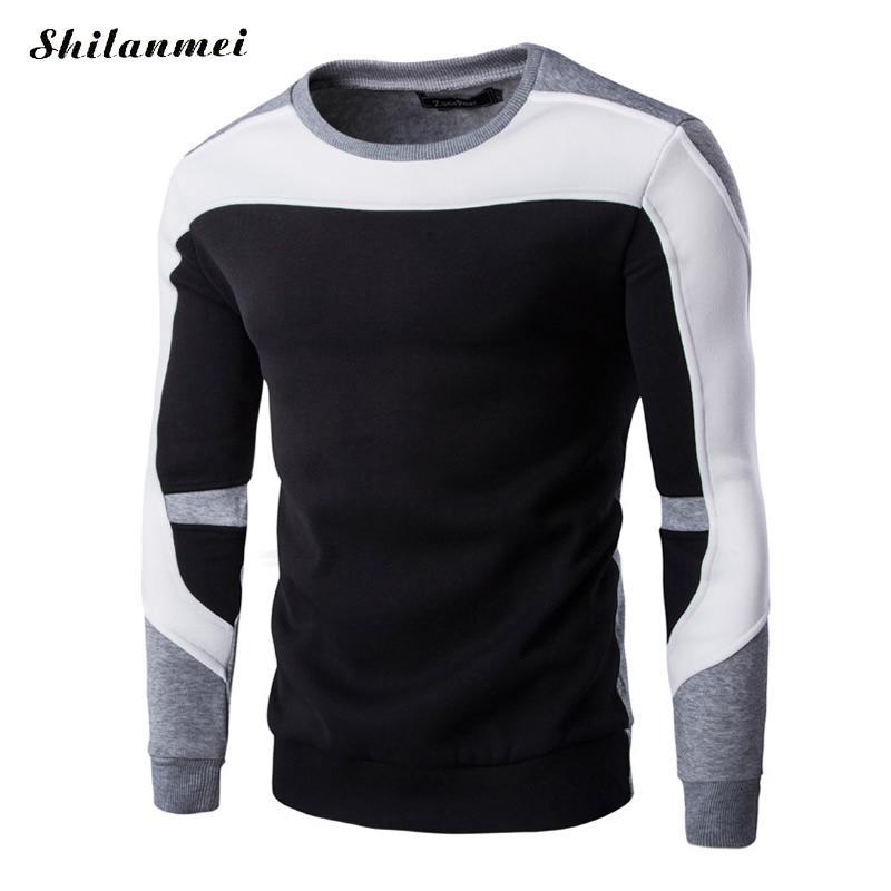 Hommes Slim Pulls Patchwork Tricots Shirts Cou Et Fit Nouveau Hiver Sweat O Vêtements Casual Automne Des 2017 wq4Bg4