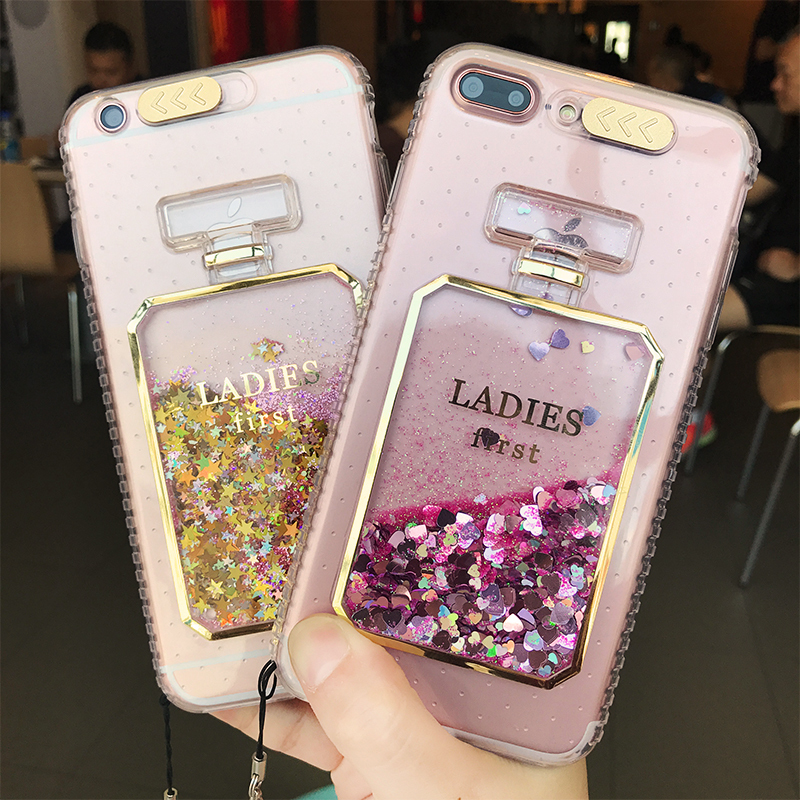 New Fashion Bling Liquid Perfume Bottles Case For iPhone 6 Luxury Glitter Calling Flash Light Case for iPhone 6S 7 8 Plus Cover