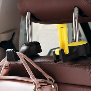 Image 4 - 2 in 1 Car Headrest Hook with Phone Holder Seat Back Hanger for Bag Handbag Purse Grocery Cloth Foldble Clips Organizer
