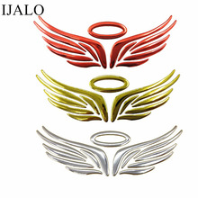 Free Shipping 1pcs/lot, 3D car sticker,ANGEL WING  2 , Chrome Badge Emblem Decal,3 colors available, pcs more 30% off