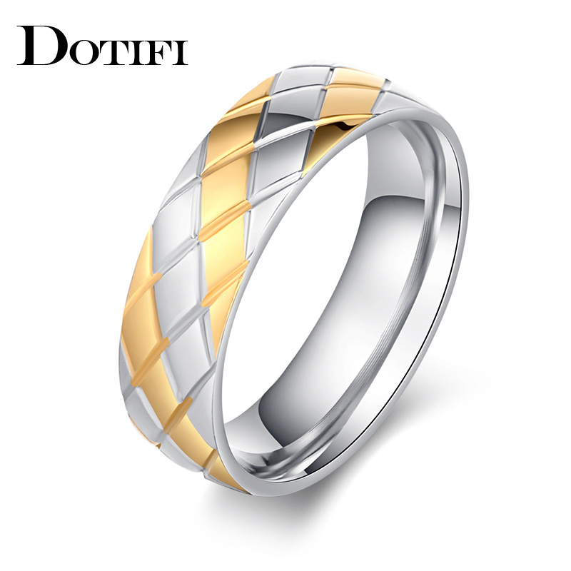 DOTIFI Titanium 316L Stainless Steel Rings For Women Gold And Silver Intersect Engagement Wedding Ring Jewelry