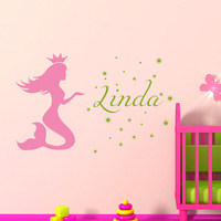 Baby Girl Name Nursery Wall Sticker Vinyl Lettering Wall Decals Girls Mermaid Name Decal Bedroom