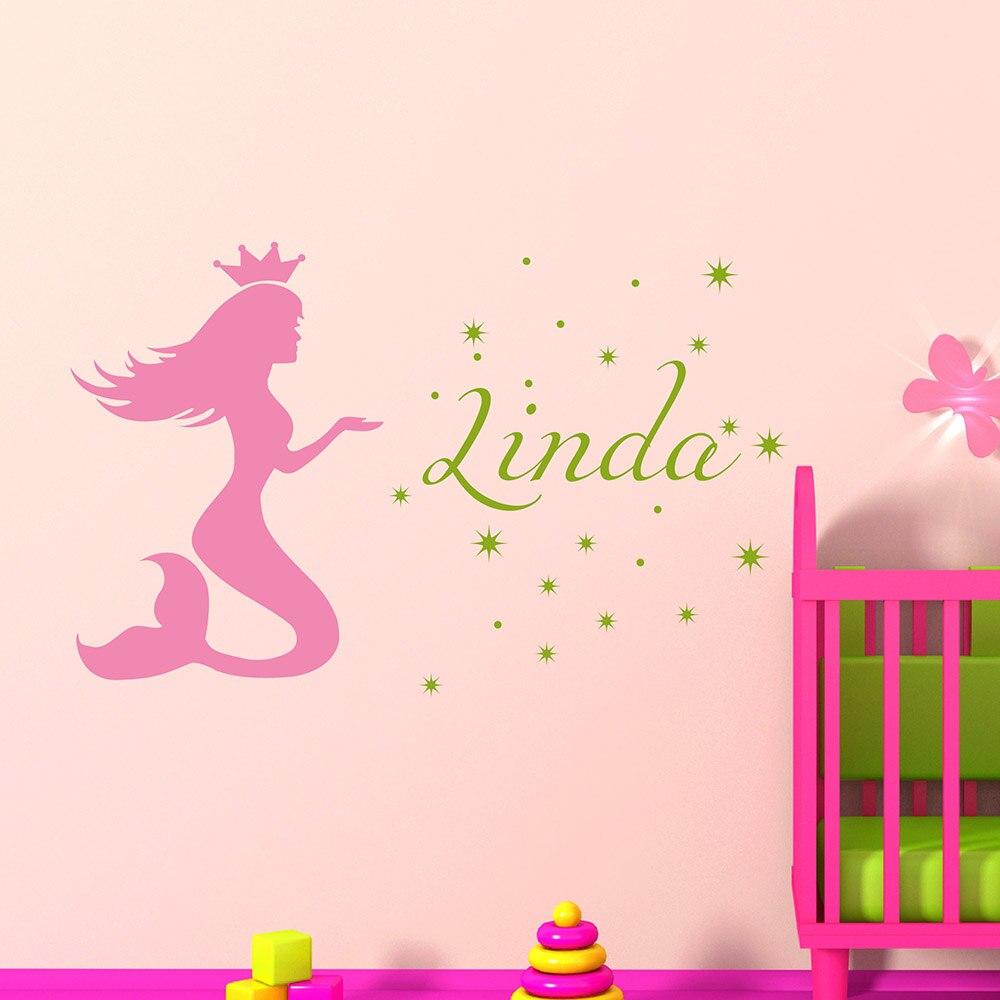 Baby Name Kindergarten Wandaufkleber Vinyl Schriftzug Wandtattoos Madchen Meerjungfrau Name Aufkleber Schlafzimmer Decals 627c Name Wall Decals Wall Decalsname Wall Stickers Aliexpress