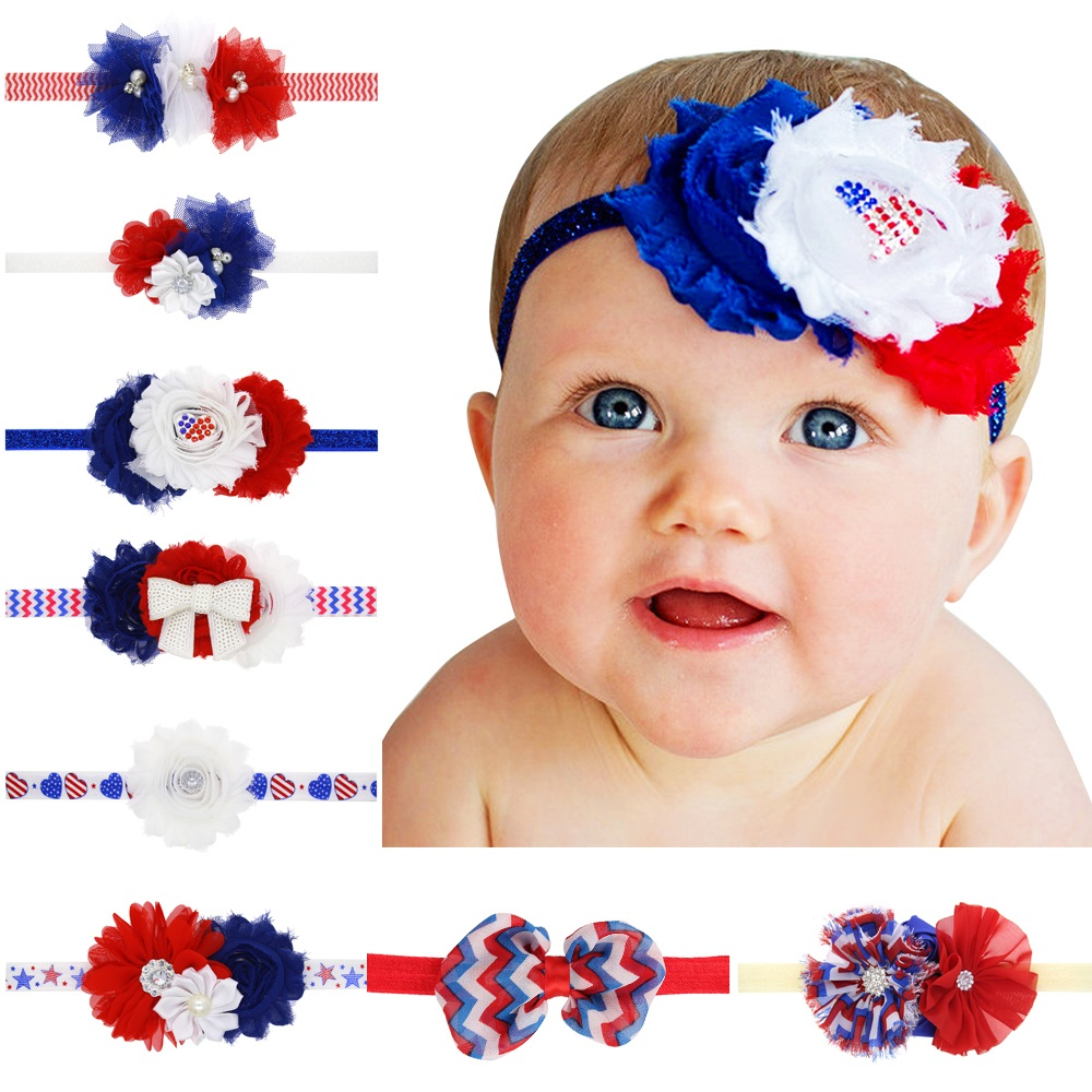 Naturalwell Patriotic Red White and Blue Headband Shabby Flower Headbands Newborn Hairband girls Flower Wedding Photo Prop HB533 naturalwell flower headband bandage lace hairband girls hairpiece child hair accessory baby hairband newborn shower gift hb090