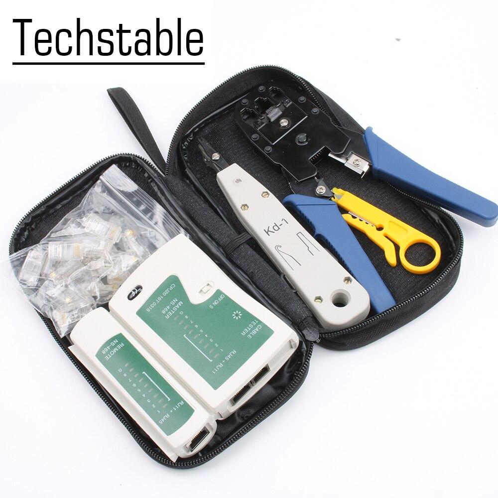 Portable Network Ethernet LAN Kit RJ45 Cat5e  Cable Tester Crimper Crimping Tool