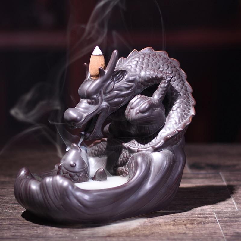Brûleur d'encens en céramique Dragon à reflux décor à la maison ornement d'incensory encens Lore tour ligne d'encens Dragon décor