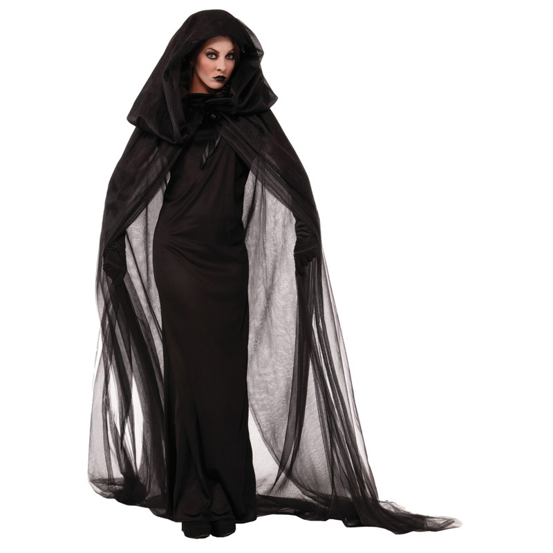 Wandering Soul in the Night Halloween Costumes Women Black Ghost Party Roles Playing Witch Cape Dresses Cosplay Plus Size 2XL