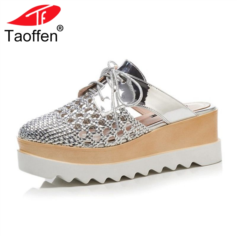 TAOFFEN Women High Heel Sandals Round Toe Hollow Out Women Summer Shoes Fashion Sandals Vacation Club Footwear Size 34-39