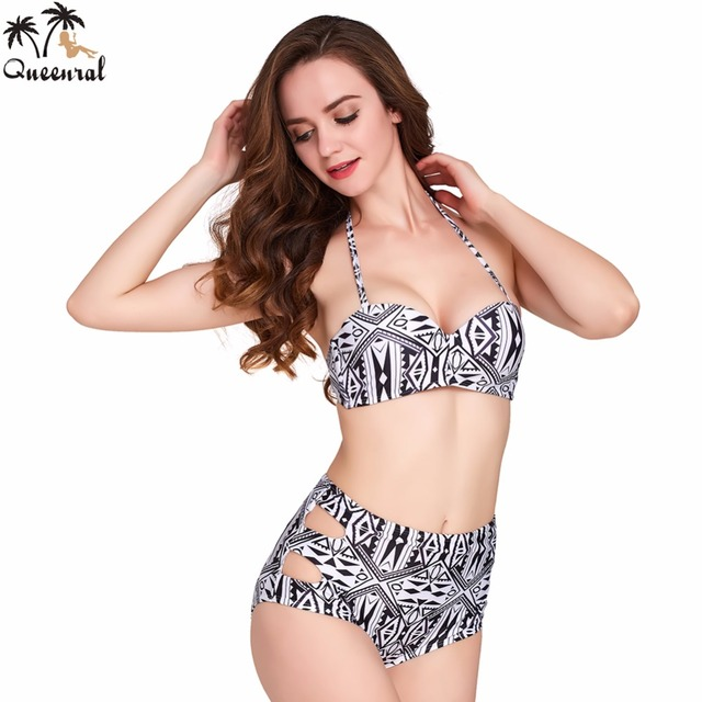 0eeaad76473 Queenral Bra Swimsuit Female Retro Pinup Rockabilly Vintage High Waist Bra  set Swimsuit women Bras