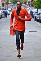 2018 Ultimo Cappotto Mutanda Disegni Arancione Doppio Petto Personalizzato Casual giacca Tuxedo Colorato Uomini Suits 2 Pezzi Slim Fit Terno 28