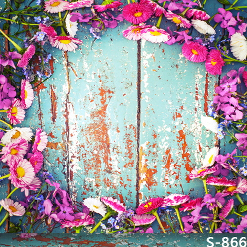 10x10ft hot pink flowers circle light blue shabby wooden planks 10x10ft hot pink flowers circle light blue shabby wooden planks panel custom photo backdrops studio backgrounds vinyl 8x8 8x10 in background from consumer mightylinksfo