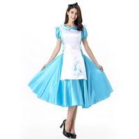 Adult Women Halloween Alice Belle Maid Costume Ladies Fancy Blue Long Satin Elsa Cosplay Satin Dress For Girls