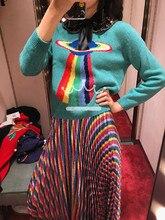 Marchio Di Lusso 2020 di Inverno Blu Donne Brutto Maglione Di Natale Pullover collare della Bambola Arco UFO Paillettes Femminile Jumper Magliette E Camicette Vestiti di NUOVO