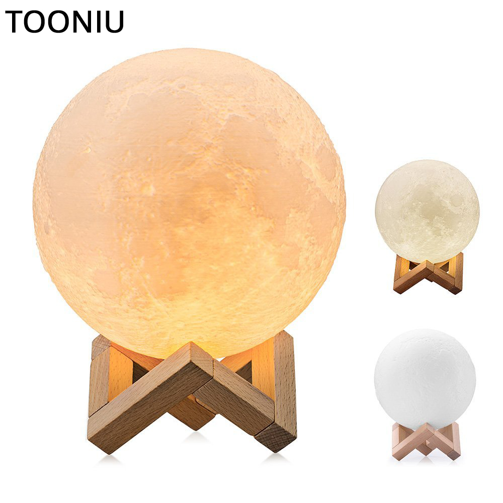Tooniu Moon Lamp Rechargeable 3D Print 2 modes Color Change Touch Switch Bedroom Bookcase Night Light Home Decor Creative Gift