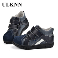 ULKNN Children Shoes Boys Jeans Casual Shoes School For Kids Genuine Leather Handmade Sewing Sneakers For