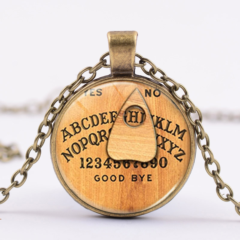 4 colors Ouija planchette glass charm pendant Ouija necklace jewelry  cabochon glass jewelry for woman