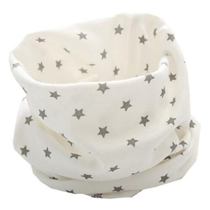 Новинка; сезон осень-зима; шарф из хлопка для девочек; Детский шарф; нагрудный шарф для мальчиков и девочек с круглым кольцом; милый детский шарф с воротником; Bufandas - Цвет: white star