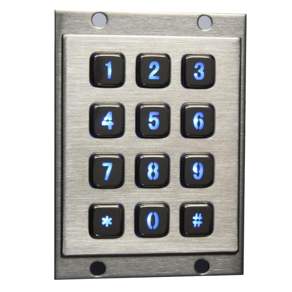 Metal Backlit keyboard with 12 keys LED Illuminated Backlighted Keypad Numeric Backlit Metal Keypad