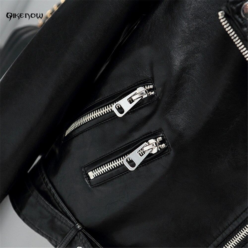 Original QikenowDPY-036 Autumn PU Leather Jacket Sashes Short Coat Slim Zippers Leather Jacket Women Spliced Perfecto deri ceket