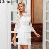 Glamaker White lace hollow out sexy mini dress Female ruffle flare sleeve dress Women winter vintage short christmas party dress
