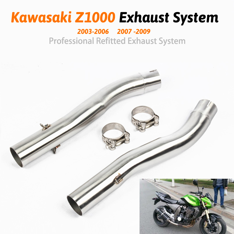 Motorcycle exhaust pipe <font><b>z1000</b></font> Shipping Slip On Mid Pipe Race Exhaust For Kawasaki <font><b>Z1000</b></font> 2003 2004 <font><b>2007</b></font> 2009 image