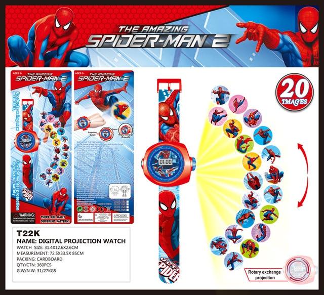 3D Spiderman Projection Watch Baby Toy Cartoon Hello Kitty Digital Children Watc
