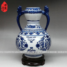 Jingdezhen ceramic blue and white porcelain antique vase rich rattan home crafts