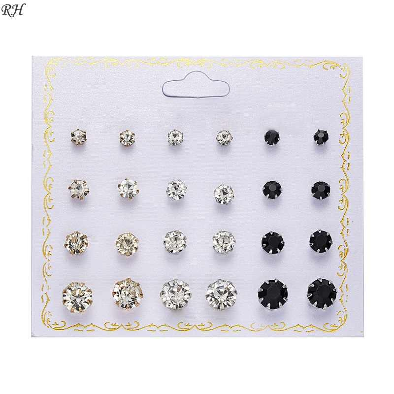 12 pairs/set Crystal Simulated Pearl Earrings Set Women Jewelry Piercing Ball Stud Earring kit Bijouteria brincos gift