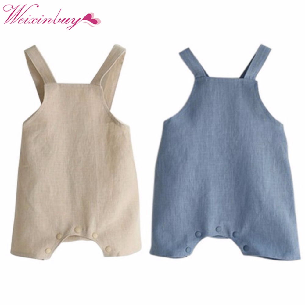 Summer Cotton Linen Kids Baby Girl Boy Romper Solid Color Suspender Overalls Infant Jumpsuit Baby Clothes