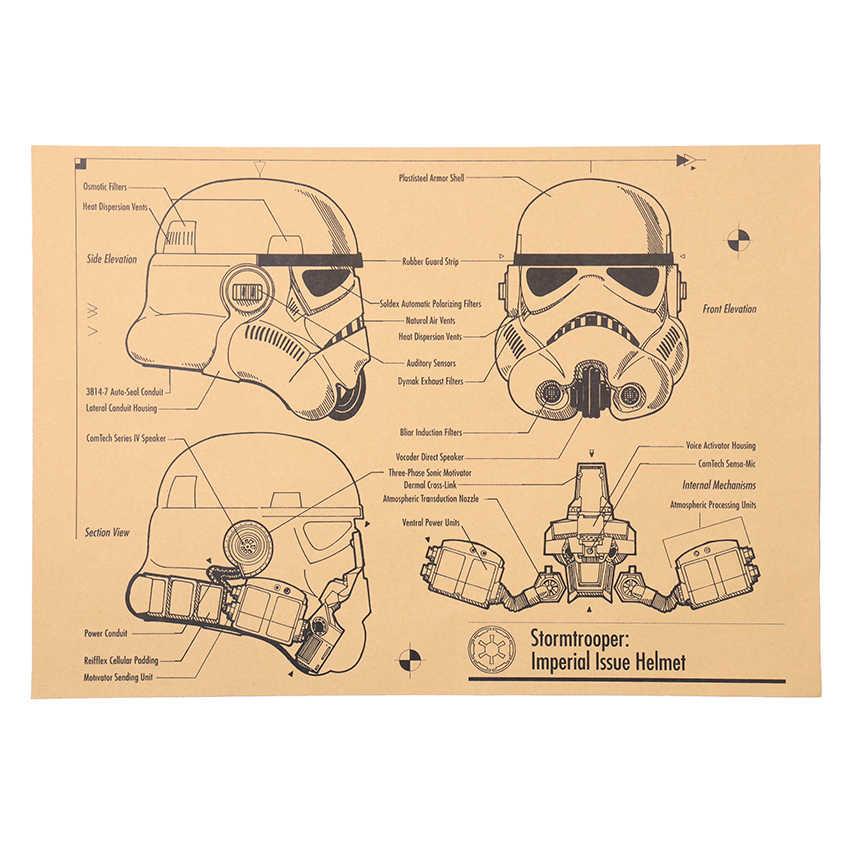 TIE LER Helmet Design Drawings Poster Adornment Design Drawings Nostalgic Retro Kraft Paper Wall Stickers 51x35.5cm