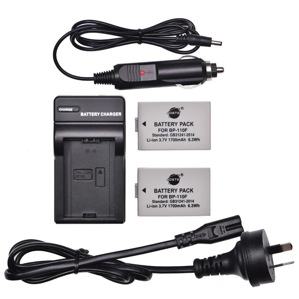 DSTE 2PCS BP-110F Rechargeable <font><b>Battery</b></font> + Travel and Car Charger for Canon HF R26 R28 R206 <font><b>R20</b></font> R21 R200 XF105 DSLR Camera image