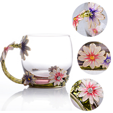 Crystal Glass Cups   Enamel Handles Heat Resistant Scented Tea Milk Juice Coffee Cups Home Office Couple Cups Old Fashioned
